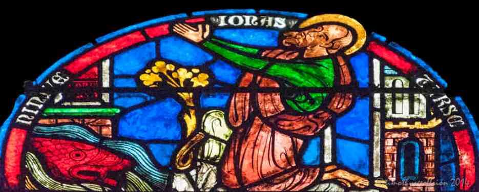 Jonas between Ninevah and Tarsus (see Jonah 1 & 2