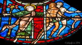 The angel banishes Eve and Adam