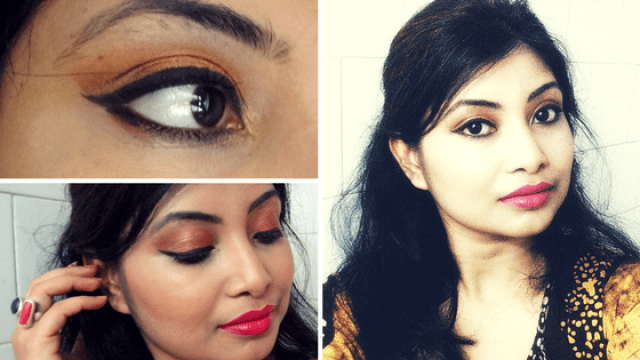Glam Bronze eyes with bright pink lips step by step tutorial
