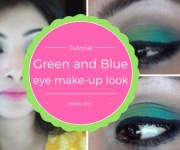 Tutorial on Green and Blue eye makeup look step by step with pictures