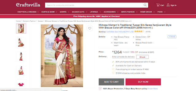 Find Most Elegant Traditional Sarees at Craftsvilla.com, Kanjivaram saree