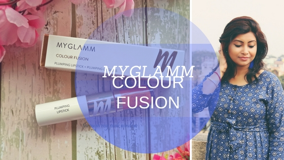Myglamm Colour Fusion 2 in 1 Plumping Lipstick +Plumping lip gloss in the shade Head over heels Review, Swatch and MOTD