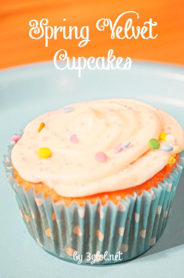 Spring Velvet Cupcakes