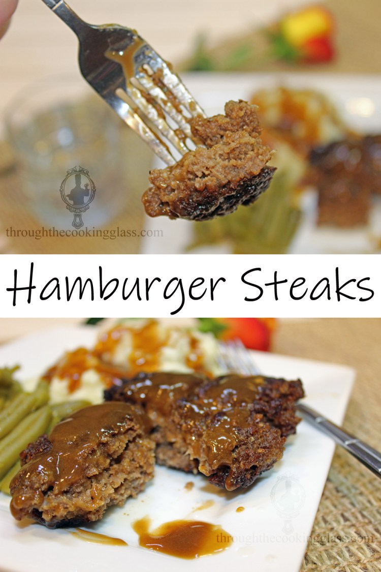 Top image shows a bite of hamburger steak on a fork close up. The bottom imiage is a hamburger steak cut in half on a plate with mashed potatoes and green beans.