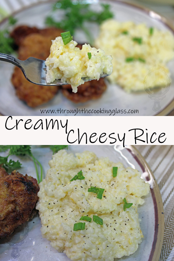 Up close bite of creamy cheesy rice and shown on the plate with the main dish.