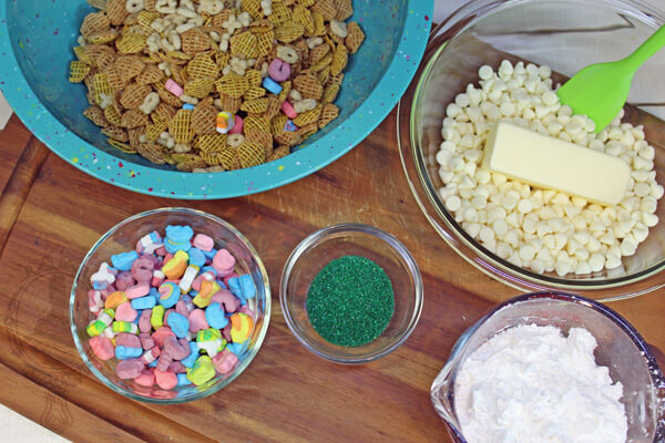Ingredients needed for Lucky Snack Mix