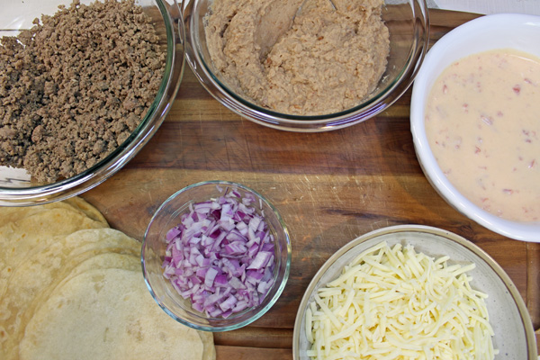 Ingredients for Beef and Bean Burrito Casserole.