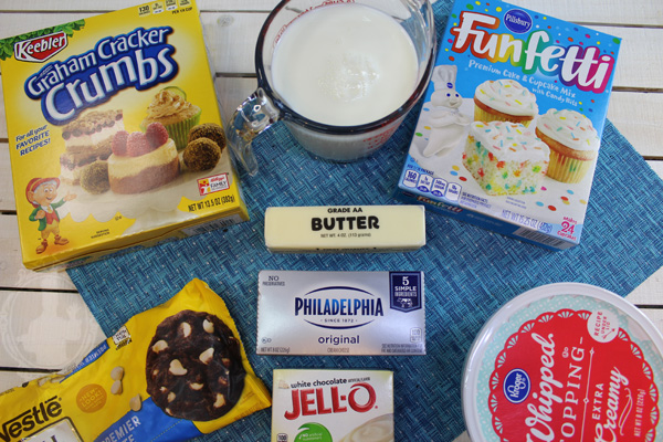 Ingredients needed for Funfetti Easter Cheesecake.