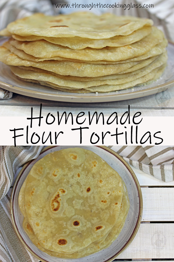 2 pictures of flour tortillas, above and a side picture of a stack of tortillas
