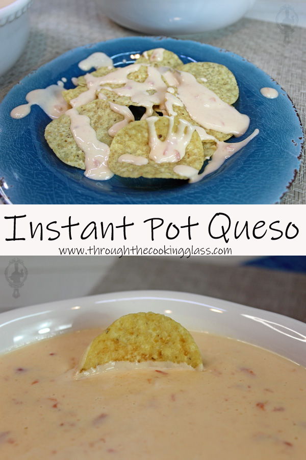 Two pictures of Instant Pot Queso. Top shows the queso drizzled over chips and the bottom one shows a chip sticking out of the bowl of queso.