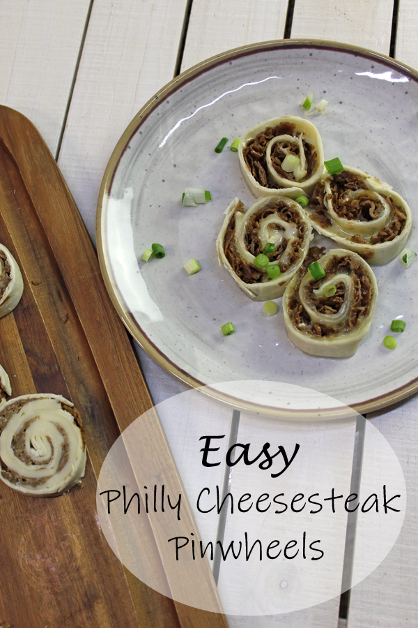 Top right corner shows a plate with Philly Cheesesteak Pinwheels after being heated up and the bottom left of the picture shows freshly sliced pinwheels on a cutting board.