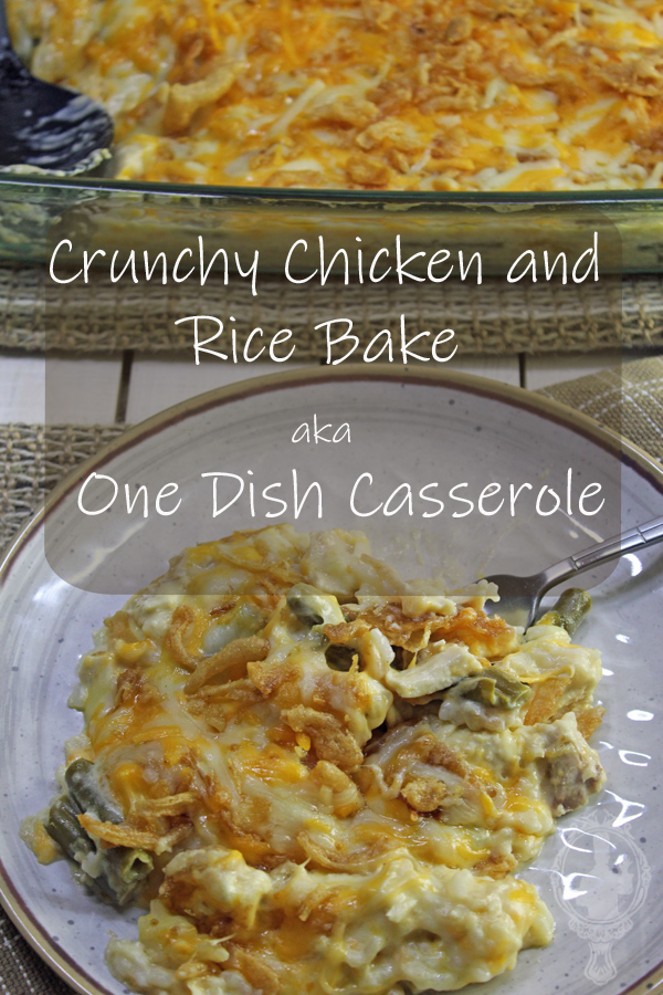 Plate of the Cruncy Chicken and Rice Bake with the casserole dish in the background.