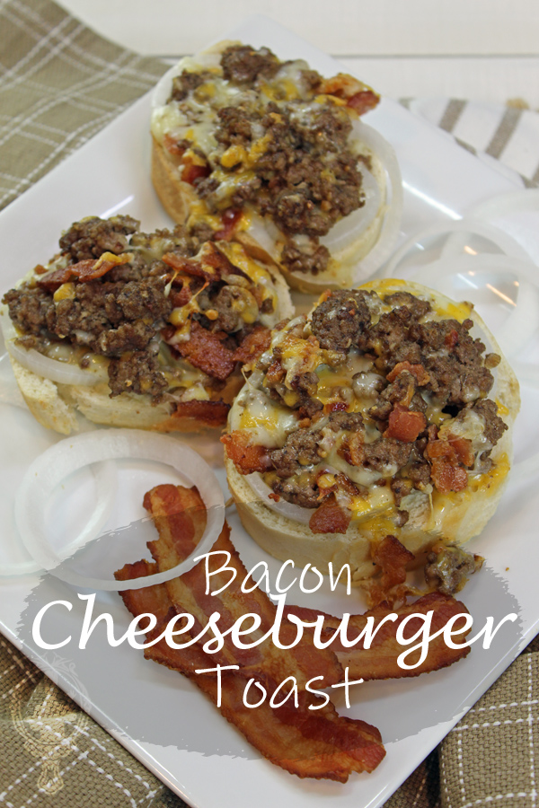 3 slices of Bacon Cheeseburger Toast on a white square plate with 3 pieces of bacon and some rings of onions on the side.