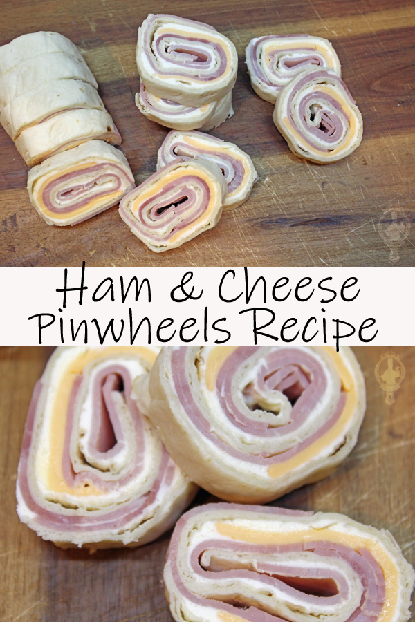 Top picture is an overhead shot of sliced Ham and Cheese Pinwheels on a cutting board. The bottom picture is a close up of a few pinwheels together.