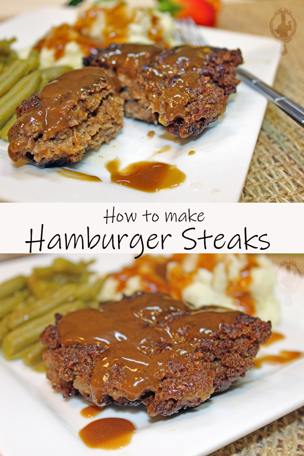 Top image is a Hamburger Steak cut in half with gravy on top. The bottom image is a whole Hamburger Steak with gravy on top. Mashed potatoes and green beans on the plate as well.