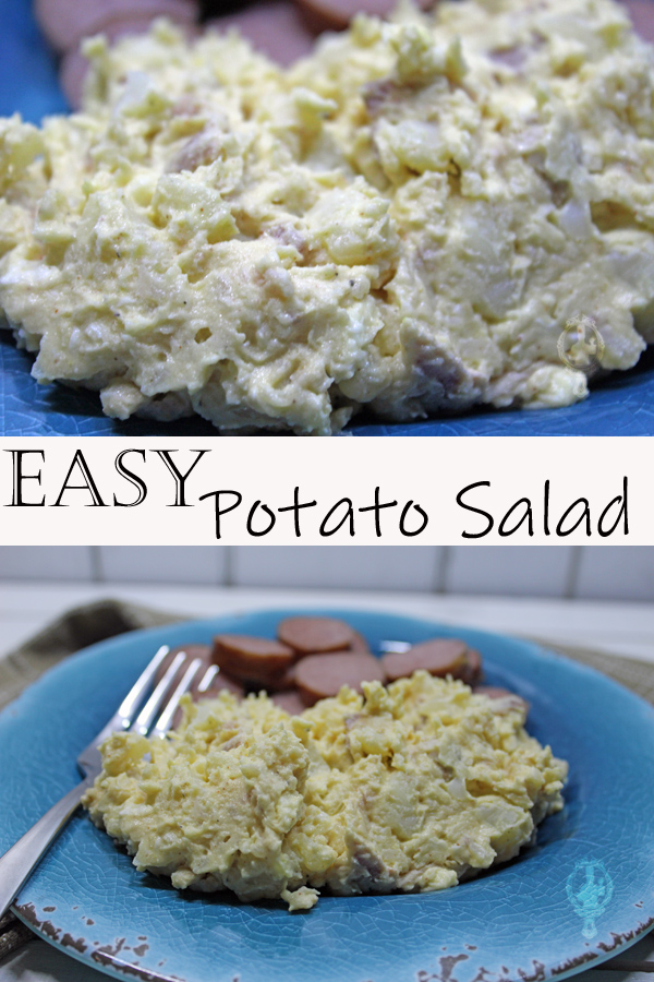 Top image has a close up of the potato salad. Bottom image has a serving of potato salad on a blue plate along with slice turkey sausage.