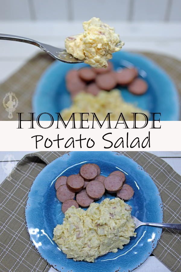 Top image shows a close up with a bite of potato salad on a fork with the plate in the background. The bottom image is an overhead view of a plate of potato salad and sliced turkey sausage on a blue plate.