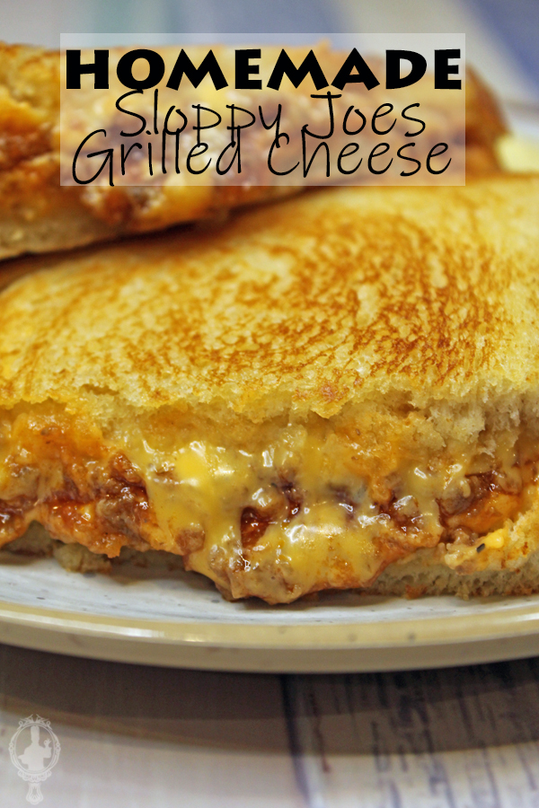 Close up of two halves of Sloppy Joe Grilled Cheese.
