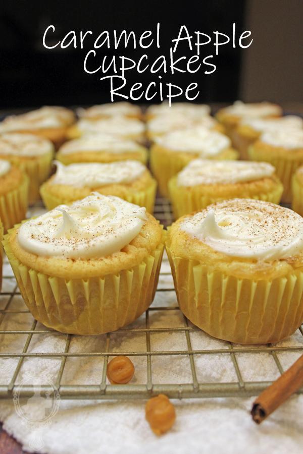 Caramel Apple Cupcakes on a cooling racks.