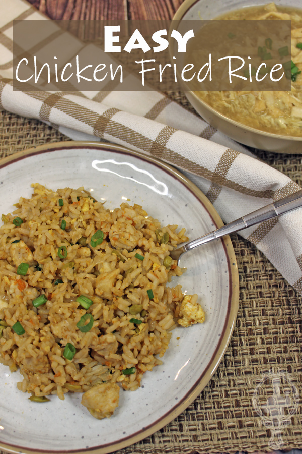 Overhead view of a plate of chicken fried rice.