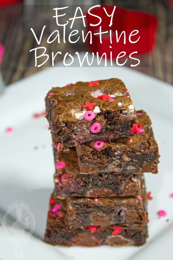 A stack of 5 Valentine Brownies on a white plate.