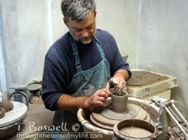 My husband, Ray, at the potter's wheel, February 2015.