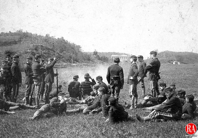 The enlisted men of Company A Second Regiment, National Guard, relaxed during a weekend range practice at Rye Lots in south Waterbury, circa 1890.