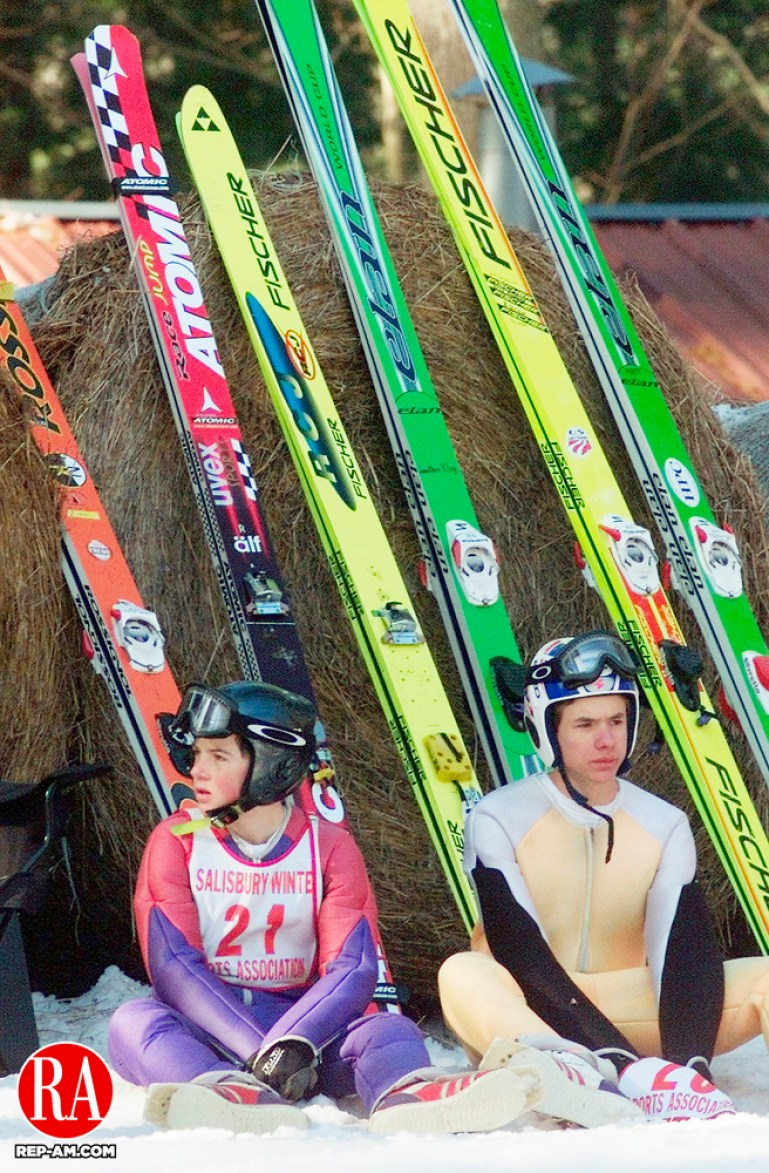 SALISBURY,CT. 02/10/01--0210SV07.tif-----Robbie Goodwin and Willy Graves wait during one of the long delays at the  annual Salisbury Invitational Ski Jump competition on Saturday.  The warm weather caused the slope to need work which held up competition. Steven Valenti Photo