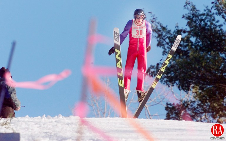 SALISBURY,CT. 02/10/01--0210SV12.tif-- Strong wind blows as Marshall Ambros  makes a jump during the annual Salisbury Invitational Ski Jump competition on Saturday.Steven Valenti Photo