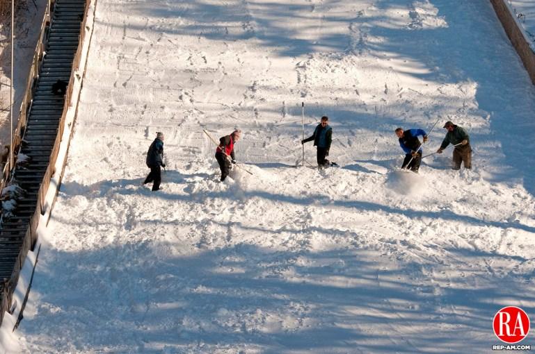 SALISBURY, CT 09 FEBRUARY 2013- 020813JS04--Volunteers work on grooming the 70-meter ski jump on Saturday for the 78th annual Salisbury Winter Sports Association