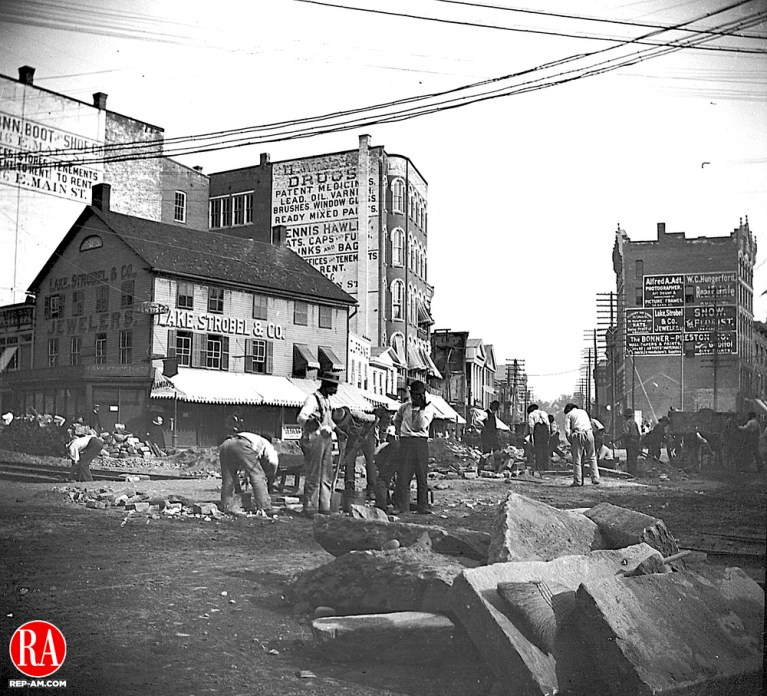 Laying tracks for the trolley at Exchange Place in downtown Waterbury, circa 1894. Republican-American Archives