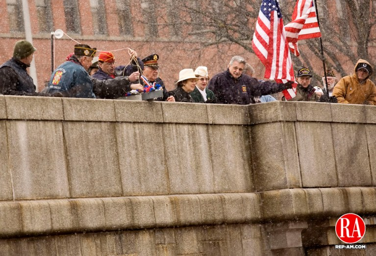 December 7, 2007 - WATERBURY - Veterans, VFW members, and the Waterbury Veterans Memorial Committee gather on Pearl Harbor Bridge to lower a boat in to the Naugatuck River during a ceremony in honor of the 66th anniversary of the attack on Pearl Harbor on Friday, December 7, 2007. Photo by T.J. Kirkpatrick Republican-AmericanDecember 7, 2007. T.J. Kirkpatrick/Republican-American