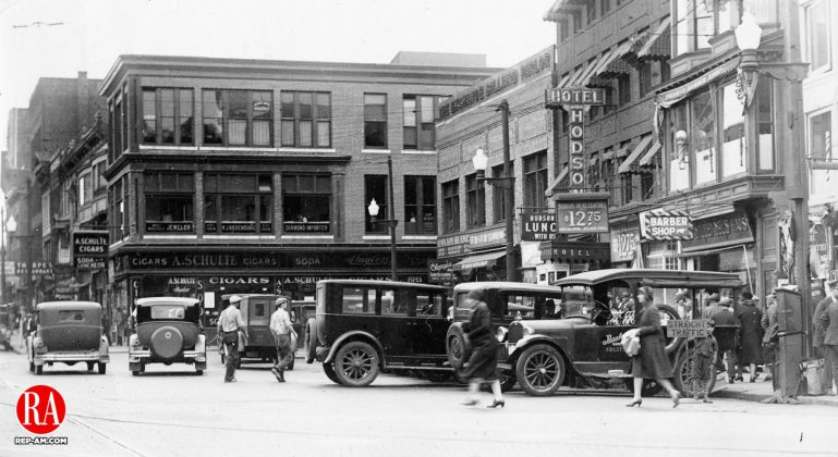 Exchange Place in Waterbury during the 1920s.