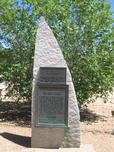 Monument at the entrance to the Old Kernville Cemetery.