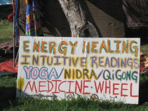 Sign in the Healing Garden. Photo by me.