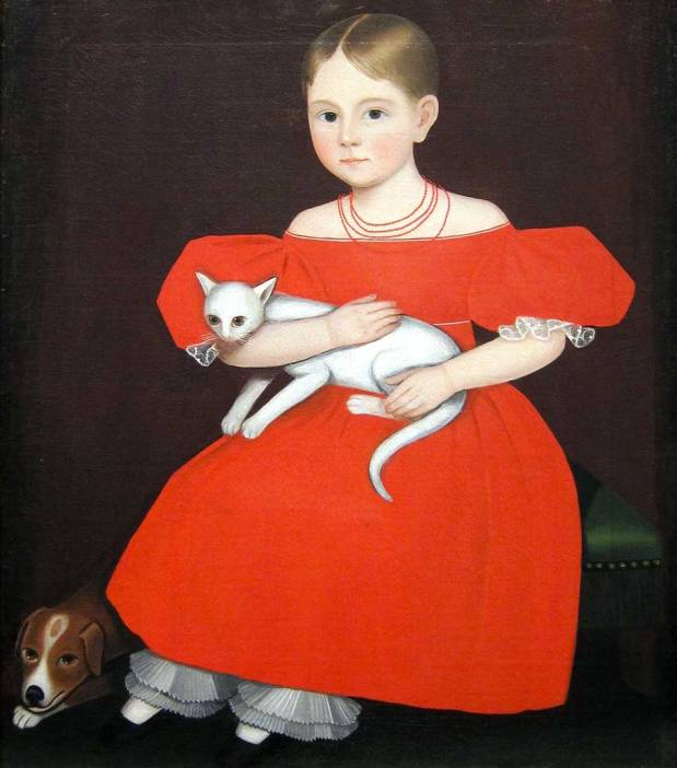 Ammi Phillips Girl in Red Dress with Cat and Dog