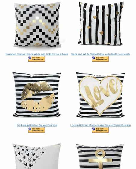 black white and gold decorative pillows