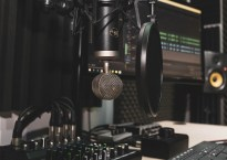 Microphone in studio setup