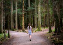 girl walking near crossroad of trees