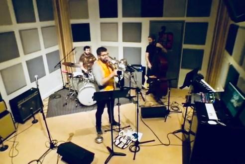 Live recording shot of Post-Bop trio True East