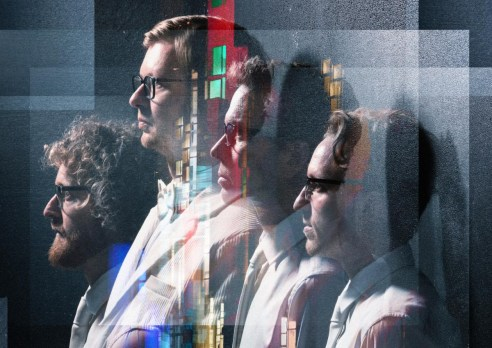 Artistically rendered group photo of the four men in four piece band, Public Service Broadcasting.