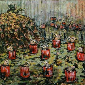 A hand painted image made a pseudo-impressionist style, depicting a landfill marked by trash cans brimming with the heads of wild animals.