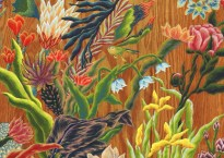 """Illustrative picture of colorful flowers. Text at the top reads """"Rachel Eckroth, The Garden"""""""