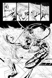 KW Page Art Ink Our Hero Braves Battery Acid Rain to Discover a Murderous Giant Monster