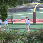 Students play Spikeball during a clubs period