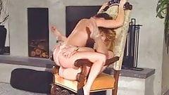Lesbians Tribbing On Chair Best Quality
