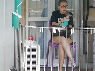 Young teen neighbor on the balcony XI