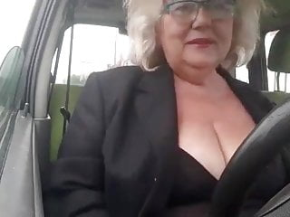 Mischievous granny with huge pure tits masturbates within the automotive