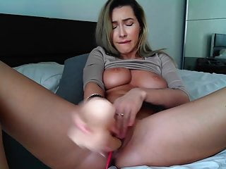 after place the sex toy in her firm hole, she eat it