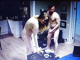 Nude couple are at dwelling